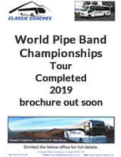Coach Tour to the World Pipe Band Championships from Belfast, Northern Ireland with Classic Coaches